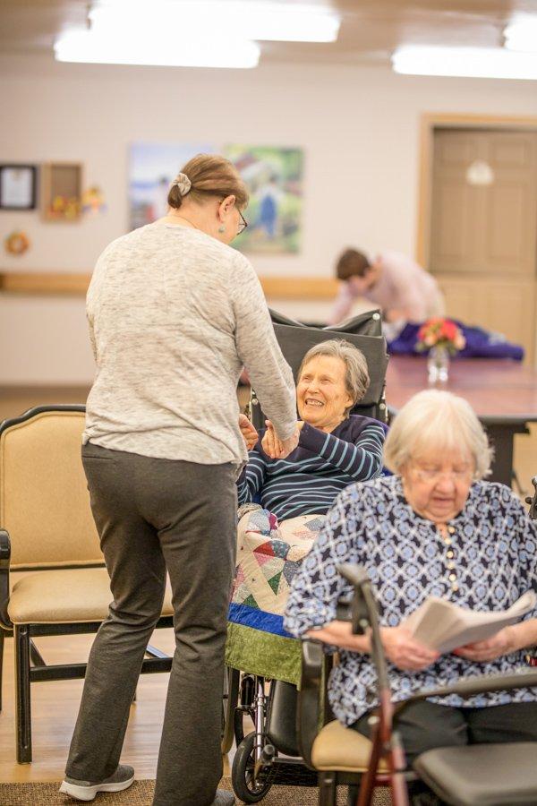 Memory care resident smiling