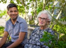 Senior with caregiver